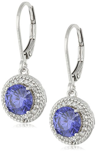 Rhodium Plated Sterling Silver Round Tanzanite Cubic Zirconia 7mm and White Cubic Zirconia Halo Drop Lever Back (Cubic Zirconia Tanzanite Jewelry Set)