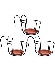 DOITOOL 3 conjuntos de suporte de flores para varanda, suporte de vaso de flores, suporte para vaso de plantas, suporte de metal, vaso de metal, montado, varanda, cestas de plantas redondas para jardim doméstico, preto, vermelho