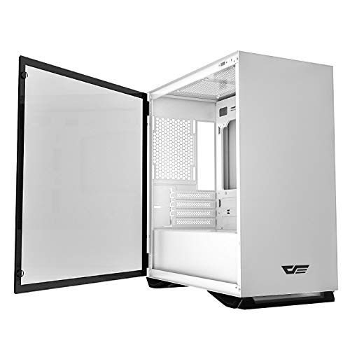 darkFlash Micro ATX Mini ITX Tower MicroATX Computer Case with Magnetic Design Wide Open Door Opening Swing Type Tempered Glass Side Panel (DLM22 White)