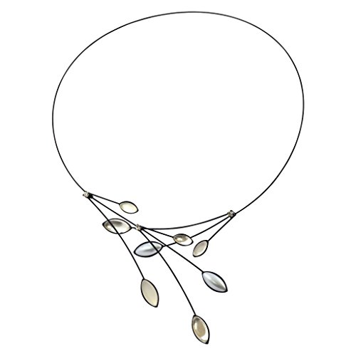 Kristina Collection Leaves and Branches Choker Necklace, Clear and White Opaque Czech Glass on Black Memory Wire