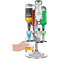 LED Illuminated 4 Bottle Bar Caddy / Liquor Dispenser