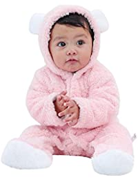 0e4446171274 Infant Baby Girls Boys 0-12 Months Long Sleeve Fluffy Hooded Jumpsuit  Romper Outfits Clothes