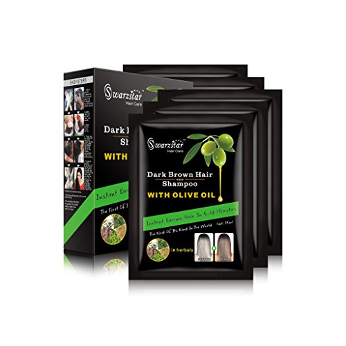 Olive Hair Care Oil Black - Swarzstar Hair Color Shampoo Dark Brown with Olive Oil 125 ml Pack of 5 Sachets = 25ml x 5 Sachets