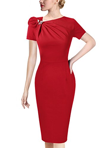 Red Dress Brooch - VFSHOW Womens Pleated Asymmetric Bow Neck Work Cocktail Party Sheath Dress 458 RED XXL