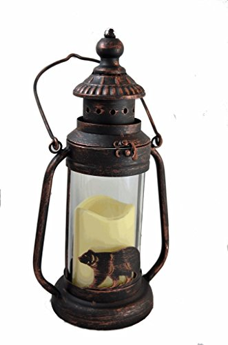 Bear LED Candle Lantern Lights Decorative - Metal Round Holder Tabletop & Hanging Lantern for Indoor Outdoor by Pine Ridge | 3AAA Battery Operated | Flameless Decor Halloween & Christmas (Top Round Table Pine)