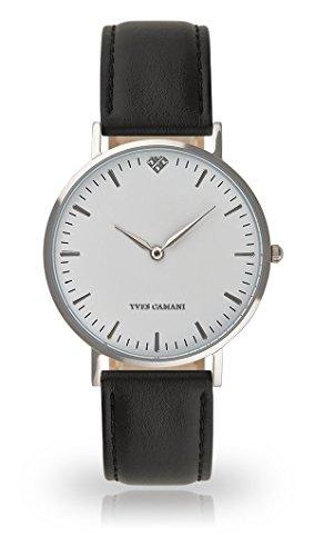 YVES CAMANI Amelie Women's Wrist Watch Quartz Analog Black Leather Strap White Dial YC1097-A-725