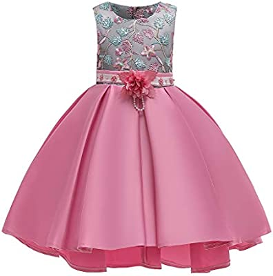 Kids Girls Dress Floral Princess Bridesmaid Pageant Gown Birthday