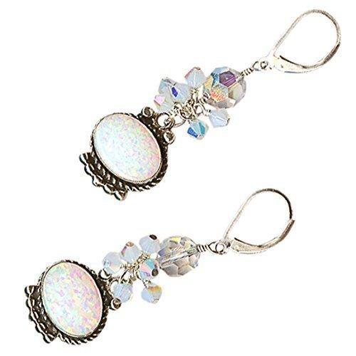 Lab Grown White Opal Large Oval Crystal Cluster Drop Sterling Earrings