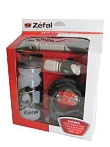 Zefal Bicycle Starter Set - Alloy Mini Pump, Water Bottle with Cage, Front and Rear Lights and Cable Lock
