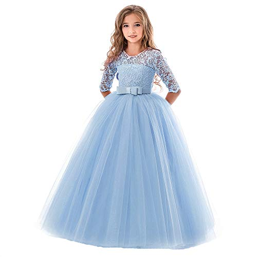 SOVIKER Girls Flower Party Dress Long Princess Gown Tulle Lace Wedding Evening Formal Pageant Dress-8547-Light Blue-140 ()