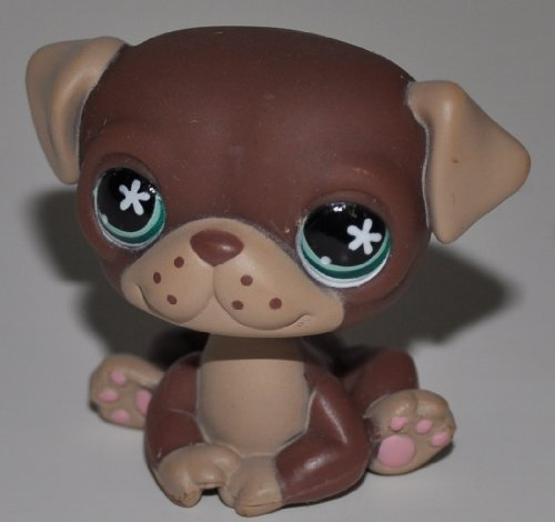 Pug #889 (Brown, Tan Accents, Green Eyes) - Littlest Pet Shop (Retired) Collector Toy - LPS Collectible Replacement Figure - Loose (OOP Out of Package & Print) ()