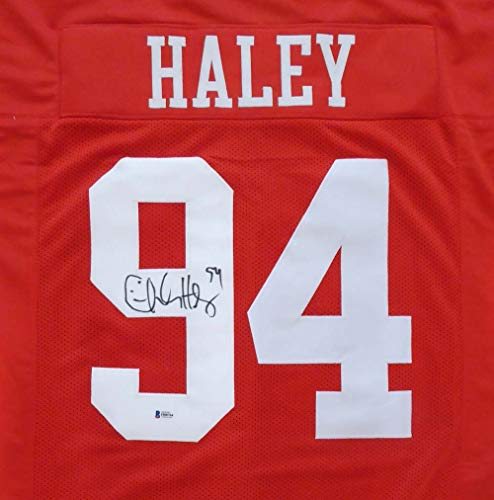 San Francisco 49ers Charles Haley Autographed Red Jersey Beckett BAS Stock #149046