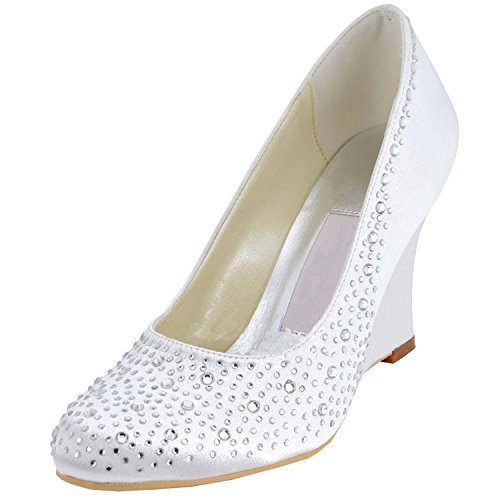 MZ541 Prom Wedge Wedding Satin White Minitoo Party Evening High Womens Heel Pumps Shoes Style1 5nTRUz