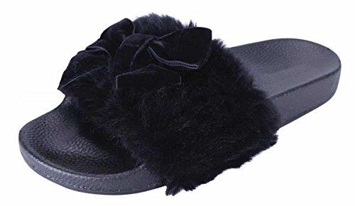 Cambridge Select Womens Open Toe Faux Fur Bow Mixed Media Slip-On Flat Slide Sandal Black PvZRce