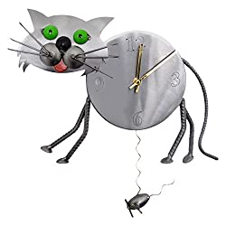 H & K SCULPTURES 6824CL Cat Pendulum Clock