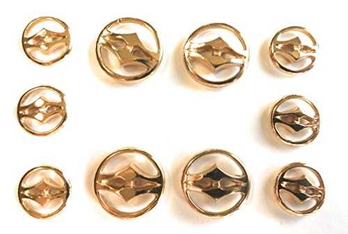 (Tailored 2 Hole GOLD BUTTON SET Shiny Finished ~ For Blazer, Suits, Sport Coat, Uniform, Jacket , Dresses 10 Pc.)