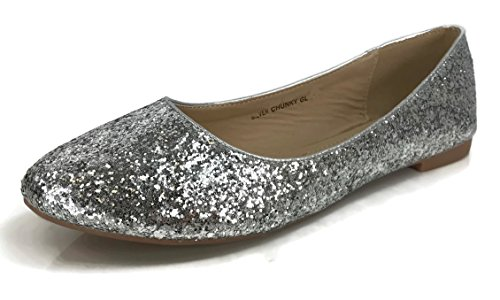 Forever Collection Womens Crystal Rhinestone Coverered Ballet Flats Slip On Glitter Shoes Silver Glitter MtkuhQ
