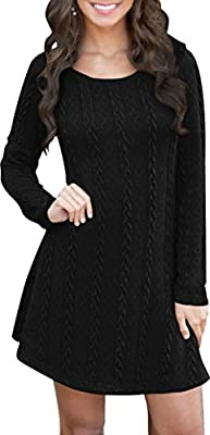 For G&PL Women's Casual Crewneck Foldover Knitted Long Sleeve Sweater Dress