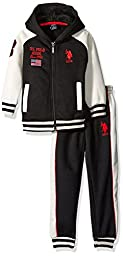 U.S. Polo Assn Little Boys\' Fleece Hooded Jacket and Jog Pant, Red, 5/6