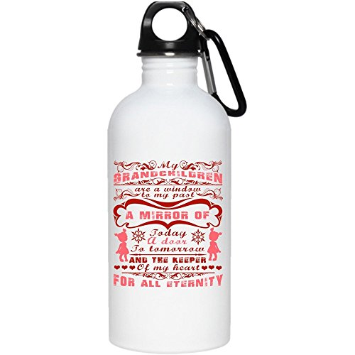My Grandchildren Are A Window To My Past 20 oz Stainless Steel Bottle,The Keeper Of My Heart For All Eternity Outdoor Sports Water Bottle (Stainless Steel Water Bottle - White) by Tiger-Key (Image #2)