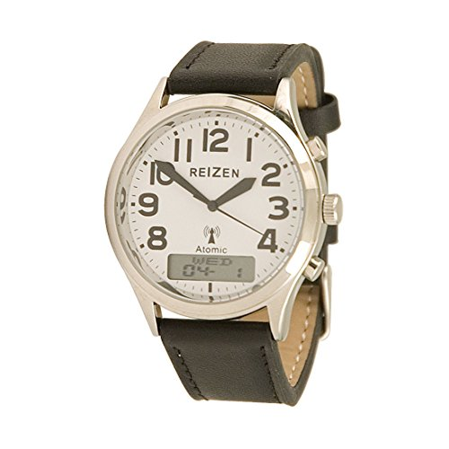 Reizen Low-Vision Ana-Digit Atomic Watch - Leather Band by Reizen
