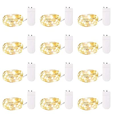 12 Pack Fairy Lights 7Ft 20 LED Firefly Lights Battery Operated String Lights Starry Moon Lights for DIY Wedding Bedroom Indoor Party Christmas Decorations Warm White