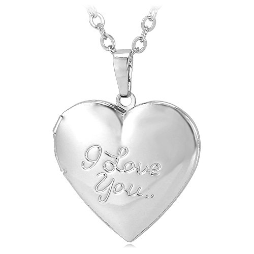 Heart-shaped Platinum or 18K Gold Plated ' I Love You' Engraved Locket Necklace (platinum)