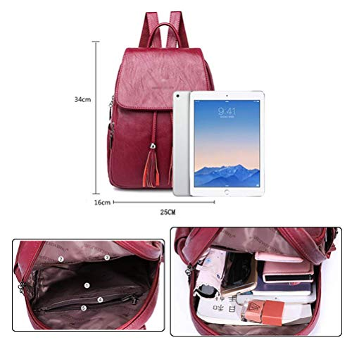 Women Bakcpack Leather Black Backpack Fashion Vintage Casual Backpack Handbag Tassel Bag Girls PU Daypack School rBrq5