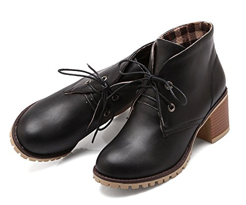 Aisun Femme Confortable Fermeture à Lacets Talon Carré Bottines Noir 1Cd3AQJC1