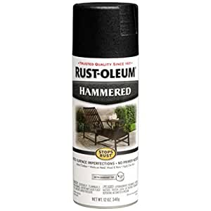 Rust-Oleum 7215830 Hammered Metal Finish Spray, Black, 12-Ounce