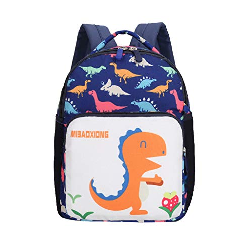 SOMESUN Girls Kid's Backpack Canvas Zipper Backpack Cartoon Cute Dinosaur Pattern School Portable Schoolbag Travel