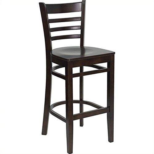 Flash Furniture HERCULES Series Ladder Back Walnut Wood Restaurant Barstool - Mahogany Walnut Bar Stool