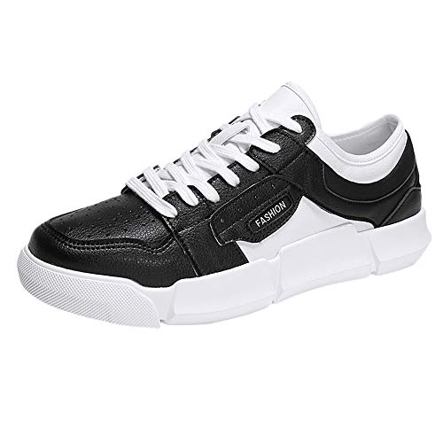 e Mens Sneakers,Mens Casual Breathable Lace-up Non-Slip Plat Sport Shoes(US 7.5,Black) ()
