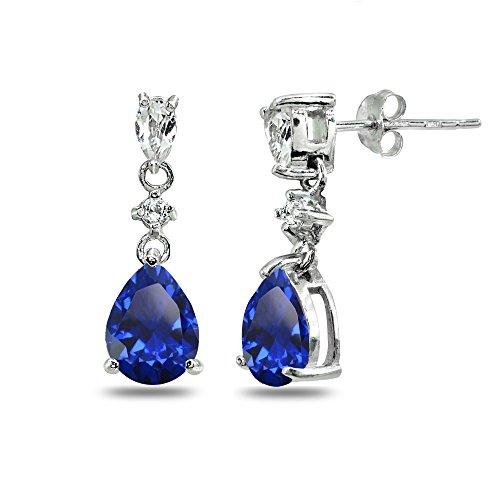 Sterling Silver Created Blue Sapphire & White Topaz Pear-Cut Teardrop Dangling Stud Earrings (Dangling Sapphire Earrings Cut)
