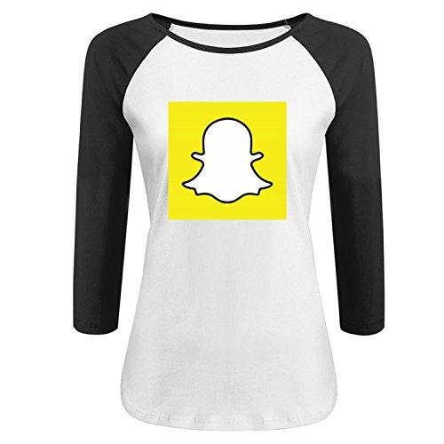 Women's Snapchat Raglan T shirt L Black 3/4