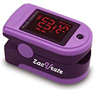 Zacurate® Pro Series 500DL Fingertip Pulse Oximeter Blood Oxygen Saturation Monitor with Silicon Cover, Batteries and Lanyard (Mystic Purple)