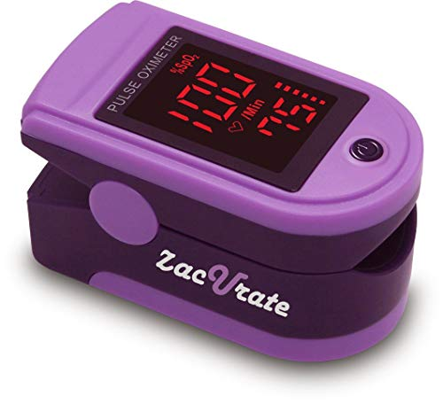 - Zacurate Pro Series 500DL Fingertip Pulse Oximeter Blood Oxygen Saturation Monitor with Silicon Cover, Batteries & Lanyard (Mystic Purple)