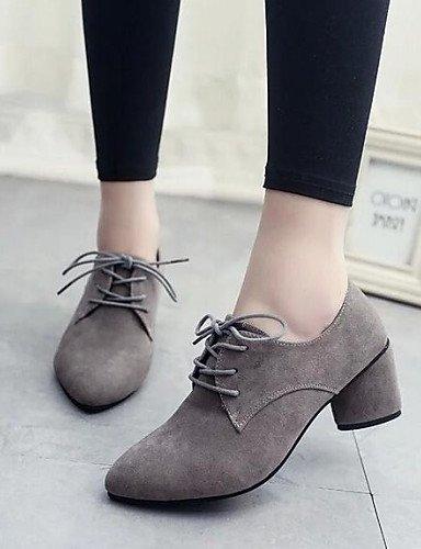 ZQ hug Zapatos de mujer-Tacón Robusto-Comfort / Puntiagudos-Tacones-Vestido / Casual-Semicuero-Negro / Gris , gray-us8 / eu39 / uk6 / cn39 , gray-us8 / eu39 / uk6 / cn39 gray-us5.5 / eu36 / uk3.5 / cn35