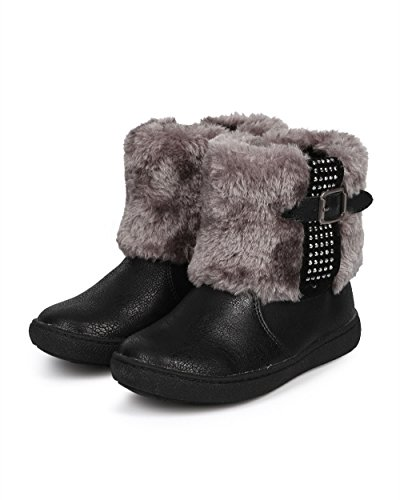 JELLY BEANS Metallic Fur Rhinestone Zip Winter Boot (Toddler/Little Girl) DC67 - Black (Size: Toddler 10) by JELLYBEANS (Image #4)
