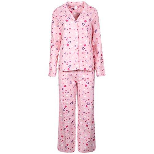 De la Mujer Ropa de Dormir Pijama, franela forro polar 100% algodón PJs Top pantalones Set Estrellas De Color Rosa