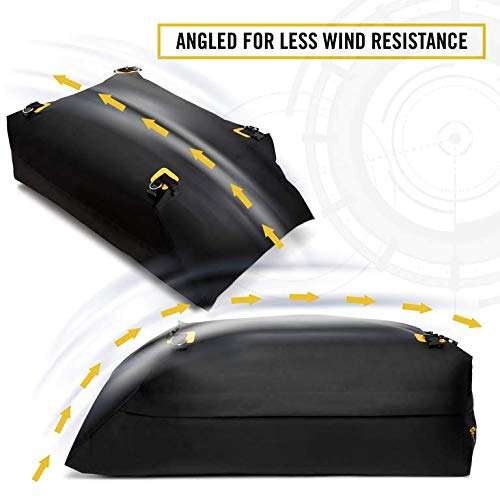 Car Top Carrier Roof Bag + Protective Mat - 100% Waterproof & Coated Zippers 15 Cubic ft - for Cars with or Without Racks by ToolGuards (Image #9)