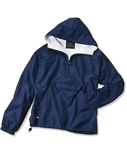 Charles River Apparel Unisex-Adult's Wind & Water-Resistant Pullover Rain Jacket (Reg/Ext Sizes), Navy, S
