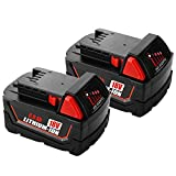 2-Pack 18V 6.0Ah Battery for Milwaukee 18volt Lithium Battery 48-11-1820 48-11-1840 48-11-1850 48-11-1828 48-11-1815 Cordless Power Tools