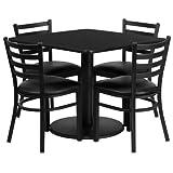 Flash Furniture 36'' Square Black Laminate Table Set with 4 Ladder Back Metal Chairs - Black Vinyl Seat