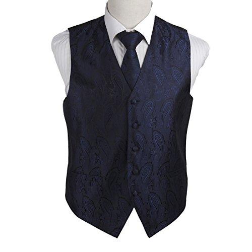 Black Micro Vest - Epoint EGD1B03C-2XL Navy Black Paisley Microfiber Lawyers Dress Vests Neck Tie Set Luxury for Pretty