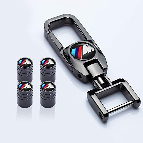 HEY KAULOR 5 Pcs Metal Car Wheel Tire Valve Stem Caps for BMW X1 X3 M3 M5 X1 X5 X6 Z4 3 5 7Series with Key Chain Logo Styling Decoration Accessories