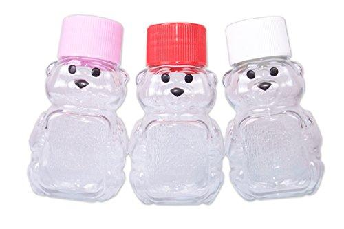 2-ounce RetroPak Plastic Panel Bear Valentine Variety 24-Pack (Red, white and pink caps) (Bear Honey Jar)
