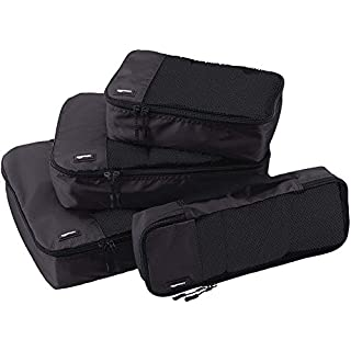 41 LmwGEQ9L. SS320 AmazonBasics Bag Organizer Packing Cubes - Small, Medium, Large, and Slim (4-Piece Set), Black (ZH1509009)