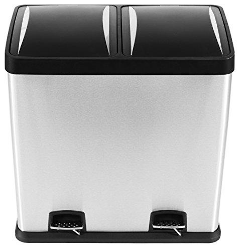 Mari Home 60L Poubelle Tri Sélectif Poubelle de recyclage acier inoxydable empreinte digitale résistant avec pédale et compartiment de recyclage (2 seaux, 2x30L)