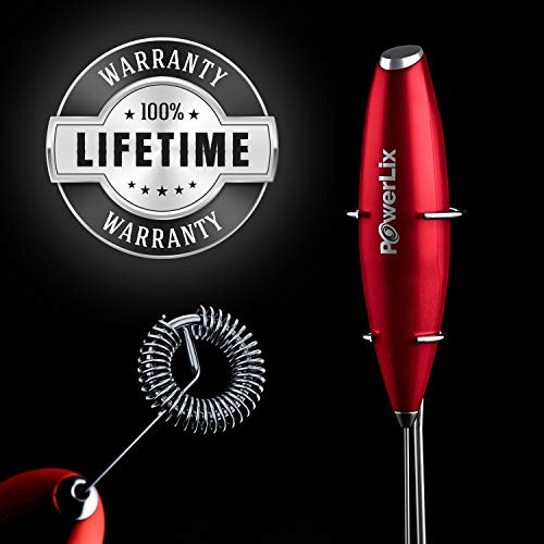 PowerLix Milk Frother Handheld Battery Operated Electric Foam Maker For Coffee, Latte, Cappuccino, Hot Chocolate, Durable Drink Mixer With Stainless Steel Whisk, Stainless Steel Stand Include (Red)